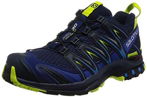 Salomon Men's XA Pro 3D Trail Running Shoes, Blue Depths/Navy Blazer/Lime Punch, 10 M US