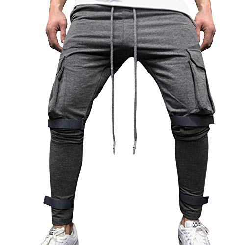 Seaintheson Men's Solid Color Training Pants,Casual Multi-Pocket Overalls Pants Gym Sport Workout Trouser with Pocket Dark - Bermuda Response Mens