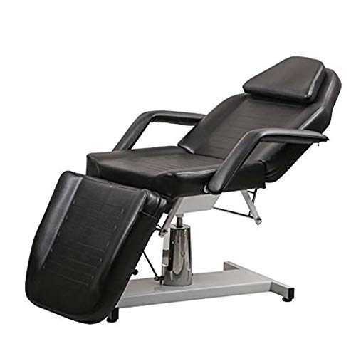 Salon Style Multi-function Adjustable Hydraulic Beauty Bed in Black PU Material Facial Acupuncture massage bed (BLACK)