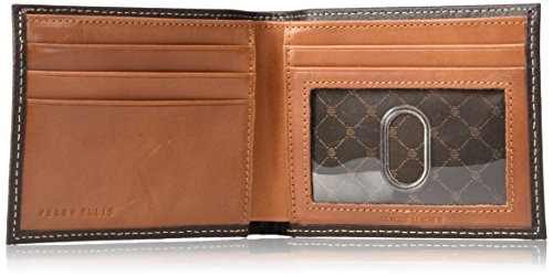 Perry Ellis Men's Ny Simple Bifold Wallet, Brown, One Size