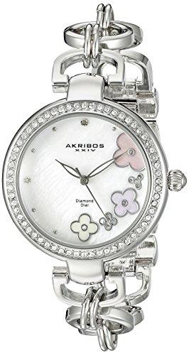 Akribos XXIV Women's AK874SS Round White Mother of Pearl Dial Three Hand Quartz Strap Watch