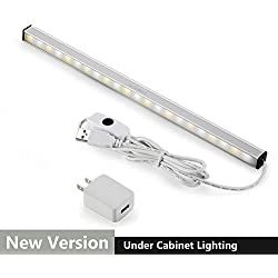 ASOKO Dimmable LED Under Cabinet Lighting, Memory Function, 12inch, Neutral White, 5000K, 3M and Magnet Mounted, UL Listed Plug, USB Powered LED Closet Light Bar, Under Counter Lighting (With UL Plug)