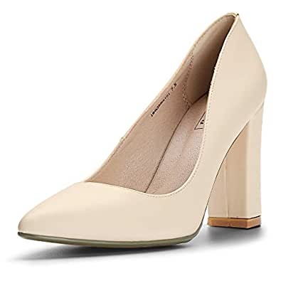 IDIFU Women's IN4 Chunky-HI Classic Closed Pointed Toe Pumps High Chunky Block Heels Dress Office Shoes Beige Size: 8.5