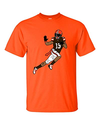 Odell Beckham Jr Tribute, Cleveland, Football Graphic Tee Browns (Large, Orange)
