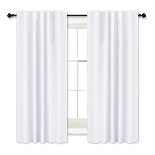 RYB HOME Window Curtains Drapes - Thermal Insulated Panels Back Tab & Rod Pocket Used with Curtain Rod/Hooks Blackout Curtains for Living Room/Nursery, 42 x 45 inch, Pure White, One (Thermal Back Tab Panel)