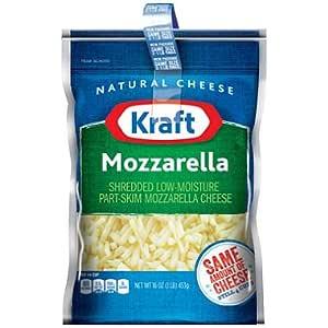 KRAFT CHEESE MOZZARELLA SHREDDED 16 OZ ZIPPER BAG PACK OF 2