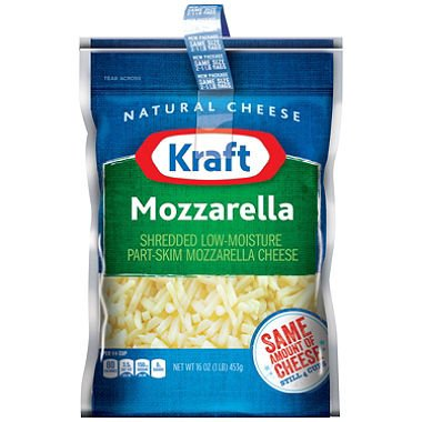 KRAFT CHEESE MOZZARELLA SHREDDED 16 OZ ZIPPER BAG PACK OF 2