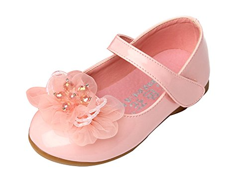 (Femizee Kids Girls Wedding Shoes Ballet Flats with Flower(Toddler/Little Kid),Pink,1526 CN 23)