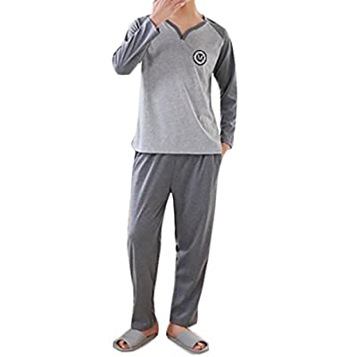 Wholesale Papijam Mens Sleepwear Cotton Long Sleeve Shirt and Bottom Pajama Set