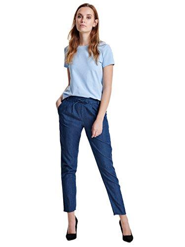 Only Onlpoptrash Denim Woven Lyocell Pant Qyt, Pantalones para Mujer azul (Dark Blue Denim)