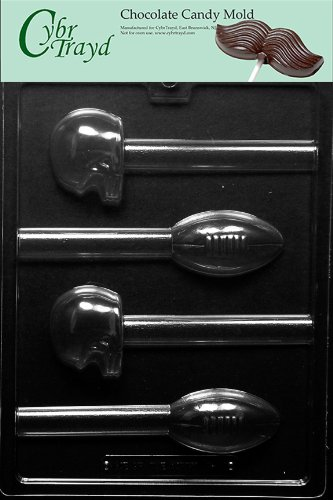 Cybrtrayd S111 Football and Helmet Pretzel Pops Chocolate Candy Mold with Exclusive Cybrtrayd Copyrighted Chocolate Molding Instructions -