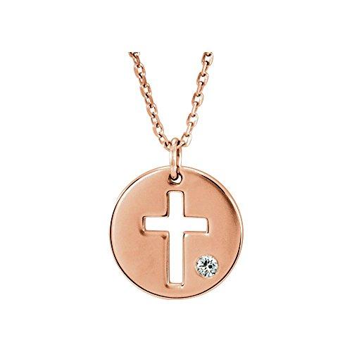 Jewels By Lux 14K Rose Gold .03 CTW Diamond Pierced Cross Disc Necklace