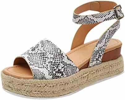 b9bf1cfc18 HIFUAR Women's Espadrille Sandal Platform Wedge Halter Ankle Strap Open Toe  Faux Leather Studded Wedge Summer