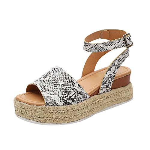 HIFUAR Women's Espadrille Sandal Platform Wedge Halter Ankle Strap Open Toe Faux Leather Studded Wedge Summer Sandals Snake US 7.5