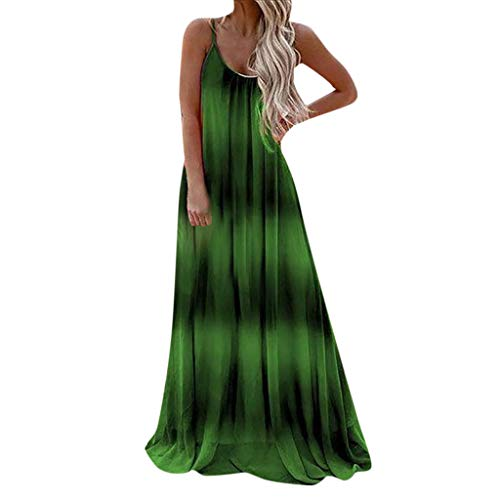 Sunhusing Women's Gradient Tie-dye Print Sexy Spaghetti Sling Sleeveless Round Neck Beach Party Dress Green