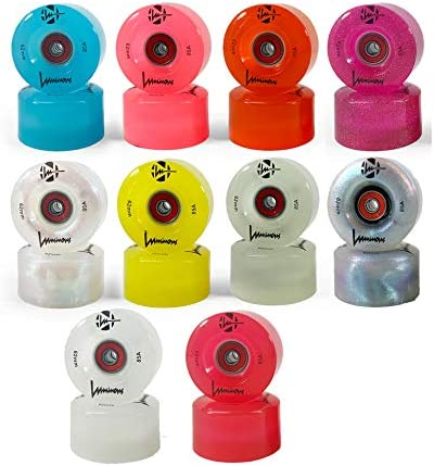 Luminous Light Up LED Quad Roller Skate Wheels Now in 9 Colors with BankRoll Bearings Installed