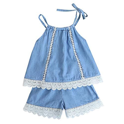 Qpika Toddler Kids Baby Fashion Girls Denim Outfits Lace Vest Shirt+Shorts Pants 2PCS Set -
