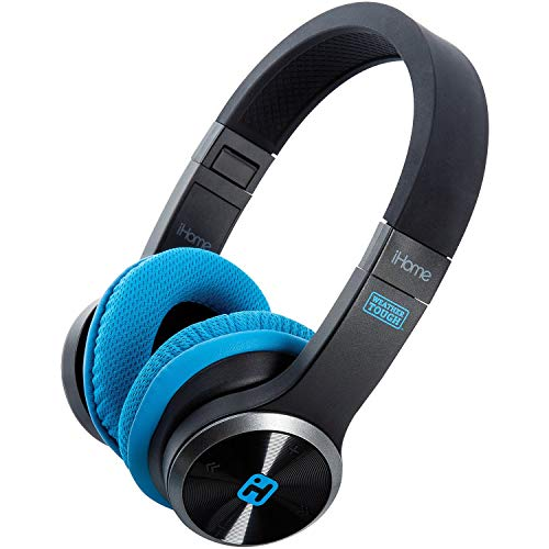 Splash Proof Rugged Foldable Bluetooth Rechargeable Headphones with Mic Remote Control and Travel Pouch - iHome iB88B