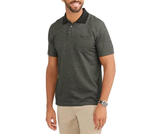 Mens Patterned No-Roll Collar Short Sleeve Polo Shirt Large 42//44, Meadow Heather White