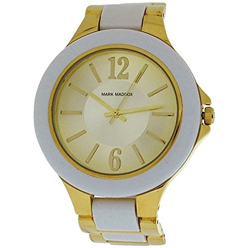 Mark Maddox Ladies Goldtone Dial White Bezel Bracelet Strap Watch MP0002-05
