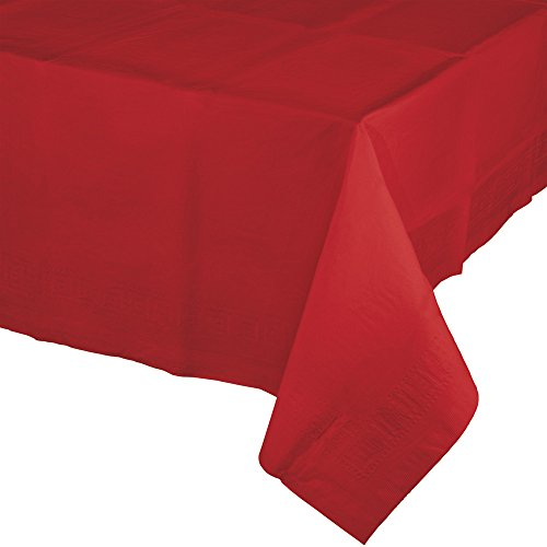 Creative Converting 6 Count Touch of Color Paper Table Covers with Poly Backing, Classic Red - 711031 -