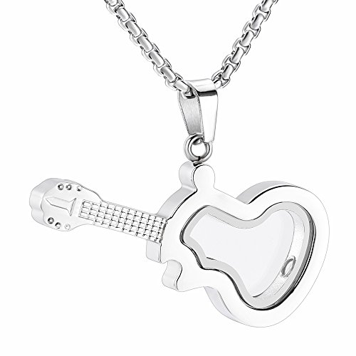 (Musical Instrument Cremation Jewelry For Women&Men Glass Guitar Memorial Urn Necklace For Ashes + Screwdriver +Fill Kits (Silver Tone))