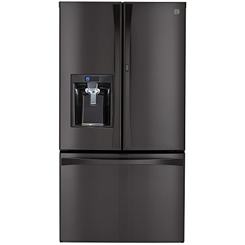 Double Freezer French Door Refrigerator - Kenmore Elite 73167 28.5 cu. ft. French Door Bottom Freezer Refrigerator with Grab-N-Go Door in Black Stainless Steel, includes delivery and hookup