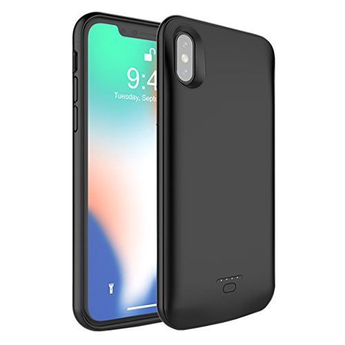 [ Upgraded ] iPhone X / 10 Battery Case,MAXBEAR 4000mAh Portable Ultra Slim External Battery Charging Case Support Headphones Battery Pack for Apple iPhone X, iPhone 10 (5.8 inch) -Black