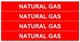 NATURAL GAS_Gas Pipe Tubing Labels_ <PACKAGE OF 8 LABELS> 3/4'' Height, 6'' Width, White Letters on Red Background, TEMPO GAS SYSTEMS High-visibility, Industry-standard Information and Safety Labels
