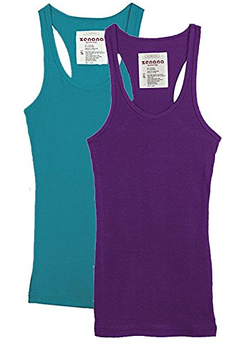 (Trendyfriday Women's Ribbed Racerback Athletic Active Tank Tops 2 or 4 Packs (Large, S Teal, Purple))