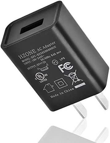 """HZONE Kindle Fire Fast Charger, (UL Listed) AC Adapter 2A Rapid Charger with 5.0 Ft Micro-USB Cable Compatible with Fire 7 8 10 Tablet, HDX 6"""" 7"""" 8.9"""" 9.7"""" and Phone, Tab Power Supply Cord, Black"""