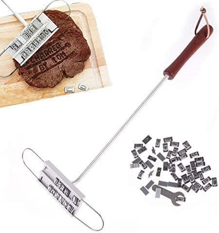 WXJHA DIY Fire Grill Mark Stamp, Outils pour Barbecue Sécurité Barbecue Creative 55 Lettres Changeable Seal Grill Salmon Viande Accessoires Burn