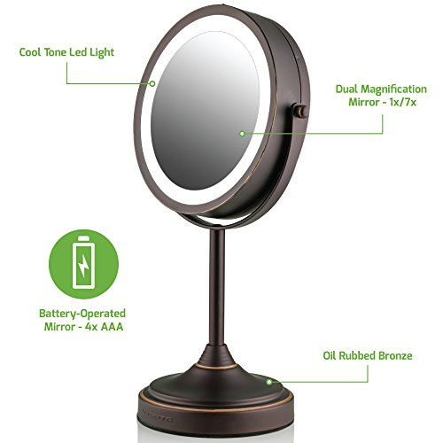 Ovente LED Lighted Tabletop Makeup Mirror, 7 Inch, Dual-Sided 1x/7x Magnification, Oil Rubbed Bronze (MCT70BZ1X7X) by Ovente