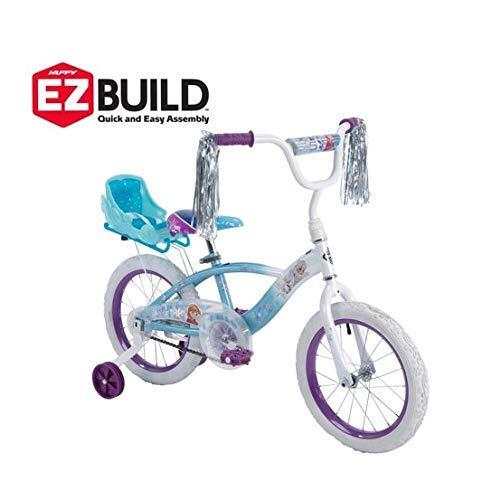 Huffy Disney Frozen 16' EZ Build Girls Bike with Sleigh Doll Carrier, White/Blue