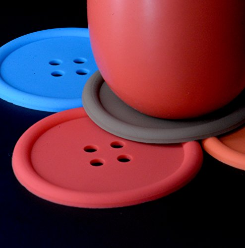 Coasters [CUTE As a Button / 5-Pack] Silicone Heat Resistant / Non-Slip Coasters For Coffee, Tea & Other Hot or Cold Drinks