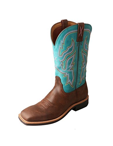 Twisted X Women's Turquoise Top Hand Cowgirl Boot Square Toe Brown 8.5 M US by Twisted X