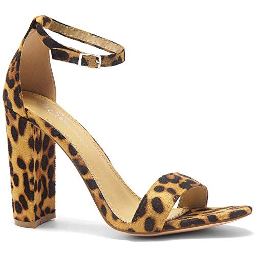 (Herstyle Rosemmina Womens Open Toe Ankle Strap Chunky Block High Heel Dress Party Pump Sandals Leopard 9.0)