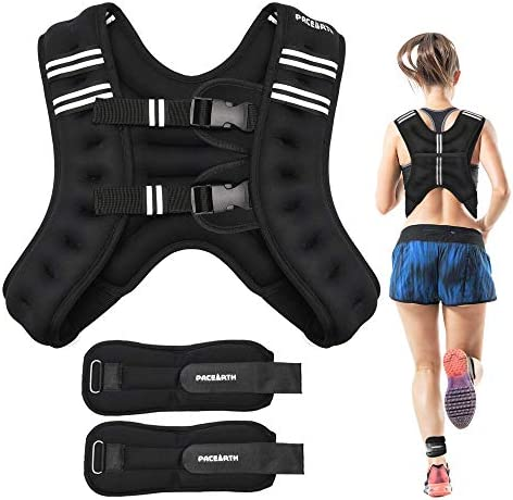 PACEARTH Weighted Vest with Ankle Wrist Weights 6lbs 12lbs Adjustable Body Weight Vest with Reflective Stripe Workout Equipment for Strength Training, Cardio, Walking, Jogging, Running for Men Women