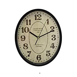 Large 12 Oval London Grand Hotel 1813 Wall Clock with Glass Face