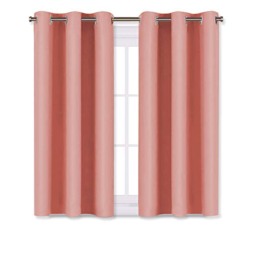 NICETOWN Window Curtains Blackout Drapes, Thermal Insulated Solid Grommet Blackout Curtains/Draperies for Living Room (Coral,One Pair,29 by 45-Inch)