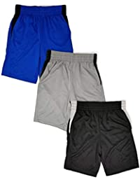 Boys 3 Pack Active Performance Mesh Style Basketball Sport Shorts
