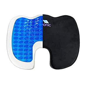 Livonic Coccyx Gel Seat Cushion-Premium Orthopedic Cushion Helps Sciatica & Tailbone Pain– Removable Non-Slip Cover- Reduce Back Pain & Relieve Tension-Perfect for Plane, Wheelchair, Car, Office Chair
