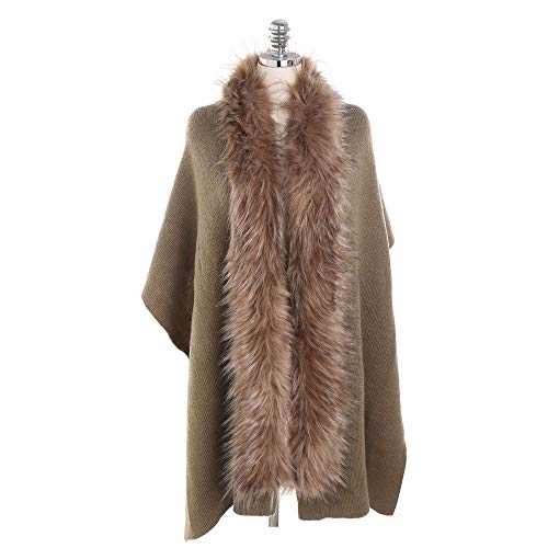 LISTHA Fur Collar Cashmere Scarf Shawl Women Fashion Warm Cardigan Thickening