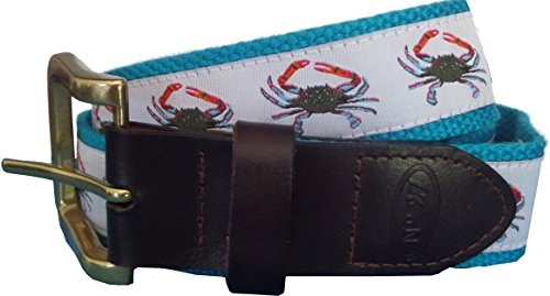 [No27 Mens Blue Crab Leather Belt, Leather Tab and Buckle, Blue Crab Nautical Leather Belt] (Buckle Tab)