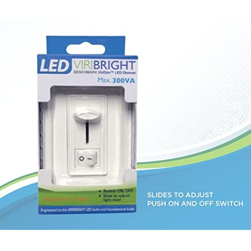 Viribright LED Dimmer Switch, Electronic Low Voltage (ELV) Noise Reducing Dimmer, 300VA 2 Way or Single Pole Dimming Wall...