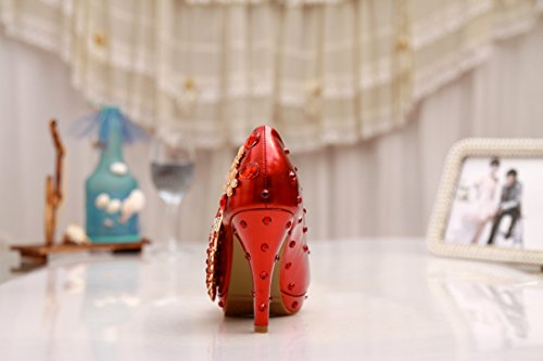 Tacco A Spillo Da Donna Artigianali In Pelle Fatti A Mano Tacco Alto In Pelle-rosso-10cm