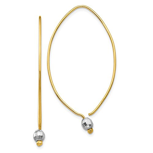 - 14k Two Tone Yellow Gold Tassel String Threader Earrings Drop Dangle Fine Jewelry Gifts For Women For Her