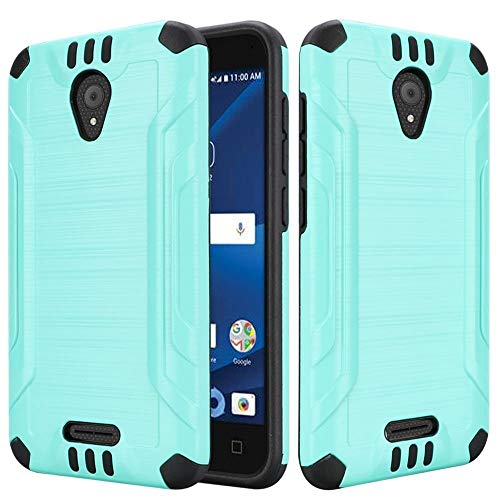 Price comparison product image Luckiefind Case Compatible with Cricket Wave (2018),  Slim Brush Texture Hybrid Defender Armor Protective Case Cover Accessory (Teal)