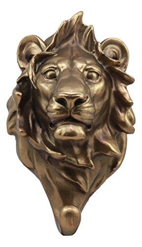 Ebros Bronzed Aslan King of The Jungle Lion Bust Wall Hook Hanger Safari Trophy Taxidermy Wall Mount Sculpture Plaque Figurine 8