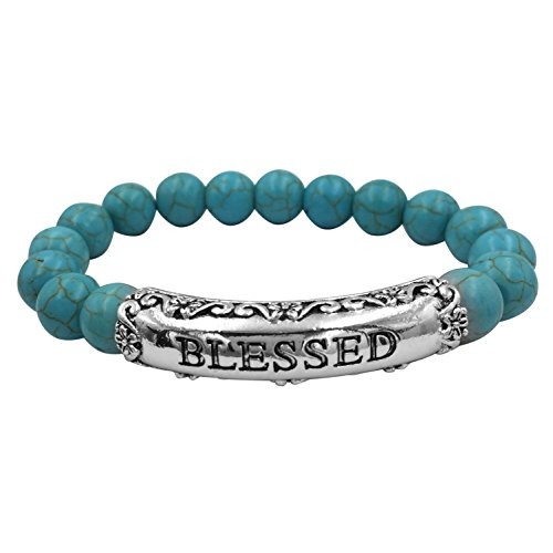 Inspirational Worded Single Strand Beaded Silver Tone Stretch Bracelet (Imitation Turquoise ()
